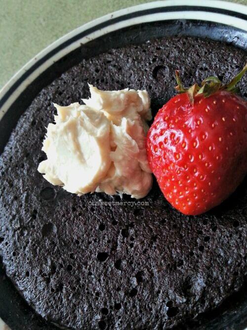 Dark Chocolate Coconut Cake in a Mug | THM S, Low Carb, Keto