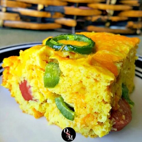 Low Carb Cheddar Jalapeno Corn Dog Bake | THM S, Low Carb