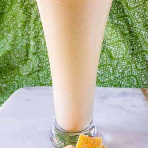 Refreshing Peach Mango Kefir Smoothie | THM E, Low Fat