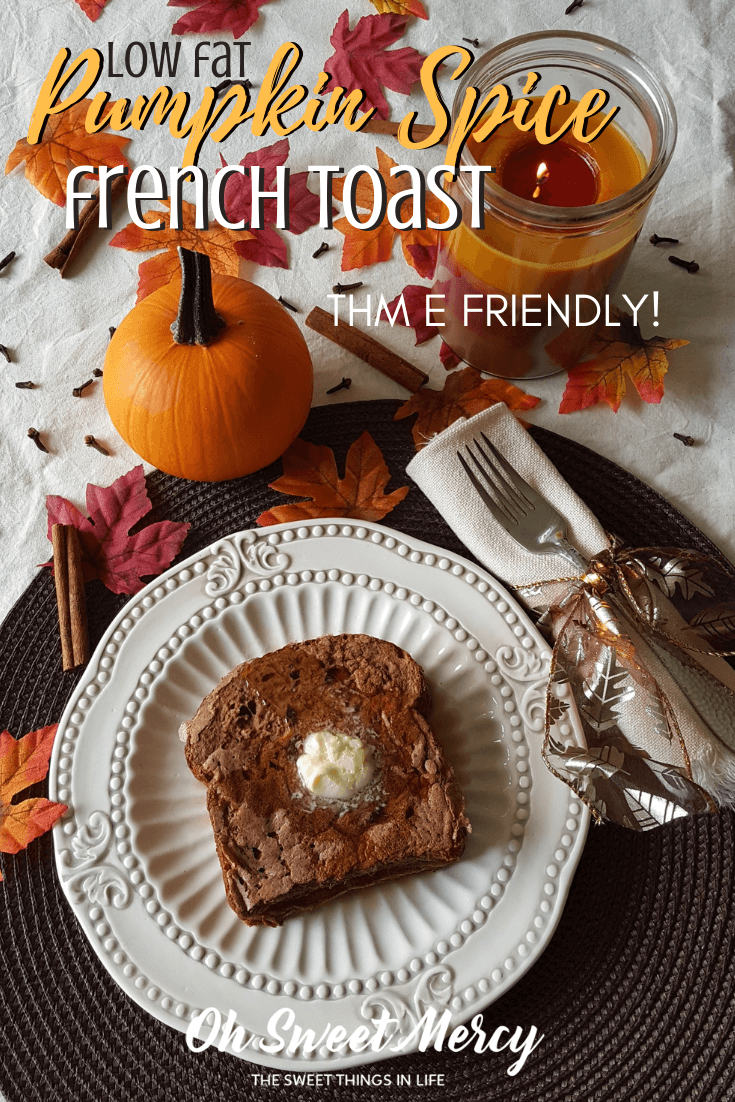 Low Fat Pumpkin Spice French Toast! Trim Healthy Mama E friendly, too. You won't believe it's low fat! #thm # pumpkinspice #frenchtoast #breakfast #healthycarbs