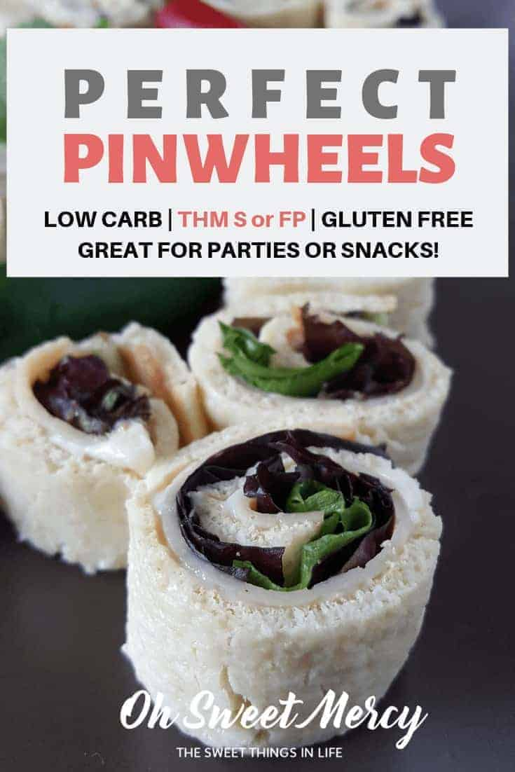This Perfect Pinwheels recipe can be made for either S or FP styles. Whether you need low carb pinwheels or low carb and low fat pinwheels, they're sure to be a hit at your next party (or snack session). #thm #appetizers #snacks #recipes #lowfat #lowcarb #glutenfree #ohsweetmercy