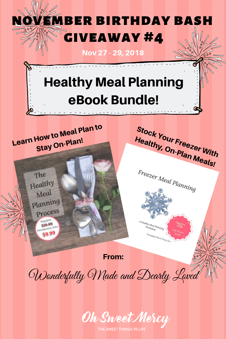 Today's November Birthday Bash Giveaway features 2 Healthy Meal Planning eBooks to help you stay on plan! #giveaways #thm #mealplanning