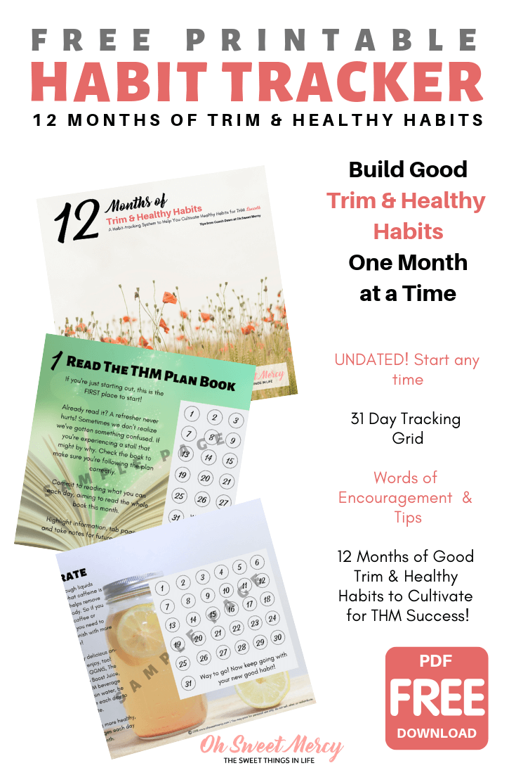 Use this FREE printable habit tracker to help you build 12 Good Trim and Healthy habits for THM success. #thm #freeprintable