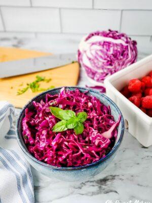 Bowl of raspberry basil coleslaw