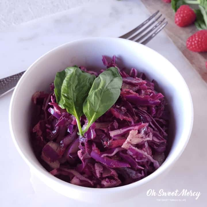 Raspberry Basil Coleslaw | THM S, Keto, Sugar Free