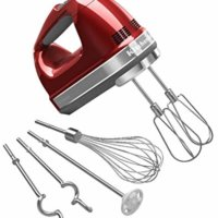 KitchenAid KHM920A 9-Speed Hand Mixer - With (Free Dough hooks, whisk, milk shake liquid blender rod attachment and accessory bag) Candy Apple Red