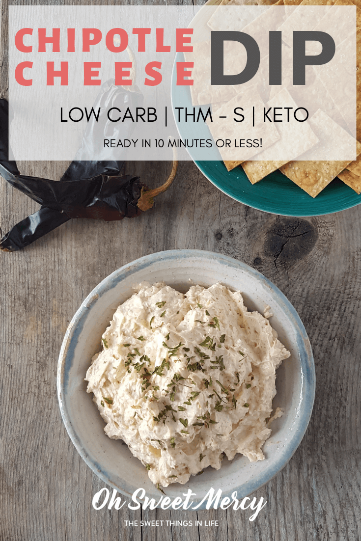 This easy, low carb Chipotle Cheese Dip is ready in 10 minutes or less! Perfect for snacking or party appetizers. #thm #keto #lowcarb #appetizers #snacks