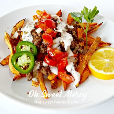 Loaded Sweet Potato Fries + Creamy Cajun Ranch | THM E, Low Fat