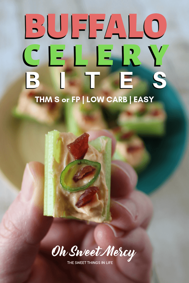 These easy 3 ingredient Buffalo Celery Bites make a great low carb, THM S snack! The creamy, buffalo flavor you love with less work. #thm #lowcarb #buffalo #snacks