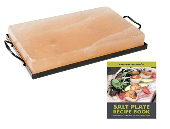 Himalayan Salt Plate by Charcoal Companion CC7167 plus Holder Set with Salt Plate Recipe Book, 8 x 12""