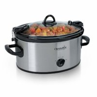 Crock-Pot Cook Carry 6-Quart Oval Portable Manual Slow Cooker | Stainless Steel