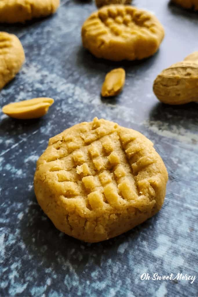 Easy No Bake Peanut Butter Cookies take 10 minutes or less, are low carb, sugar free, and THM friendly! #lowcarb #peanutbutter #cookies #thm
