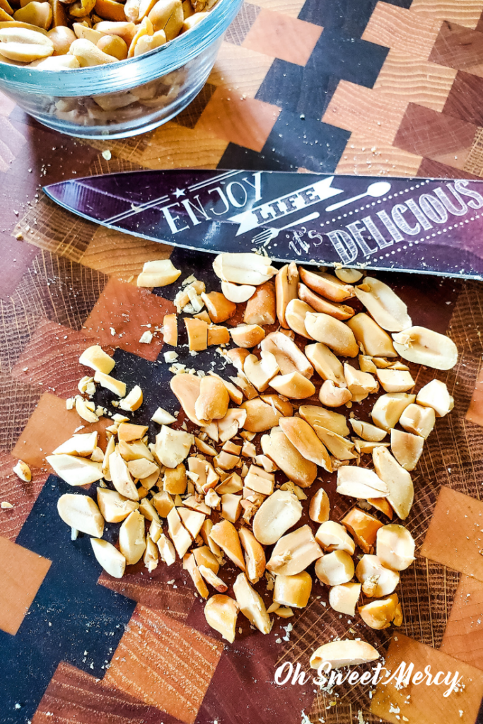 Chopping peanuts for sugar free no bake peanut butter cookies