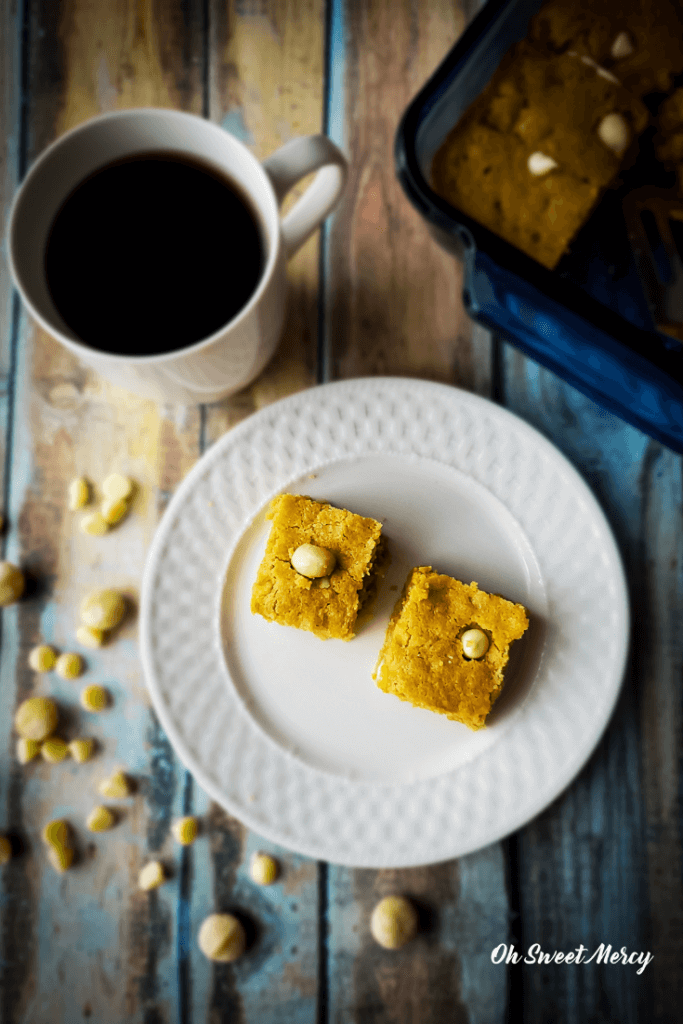Caramel White Chocolate Macadamia Blondies