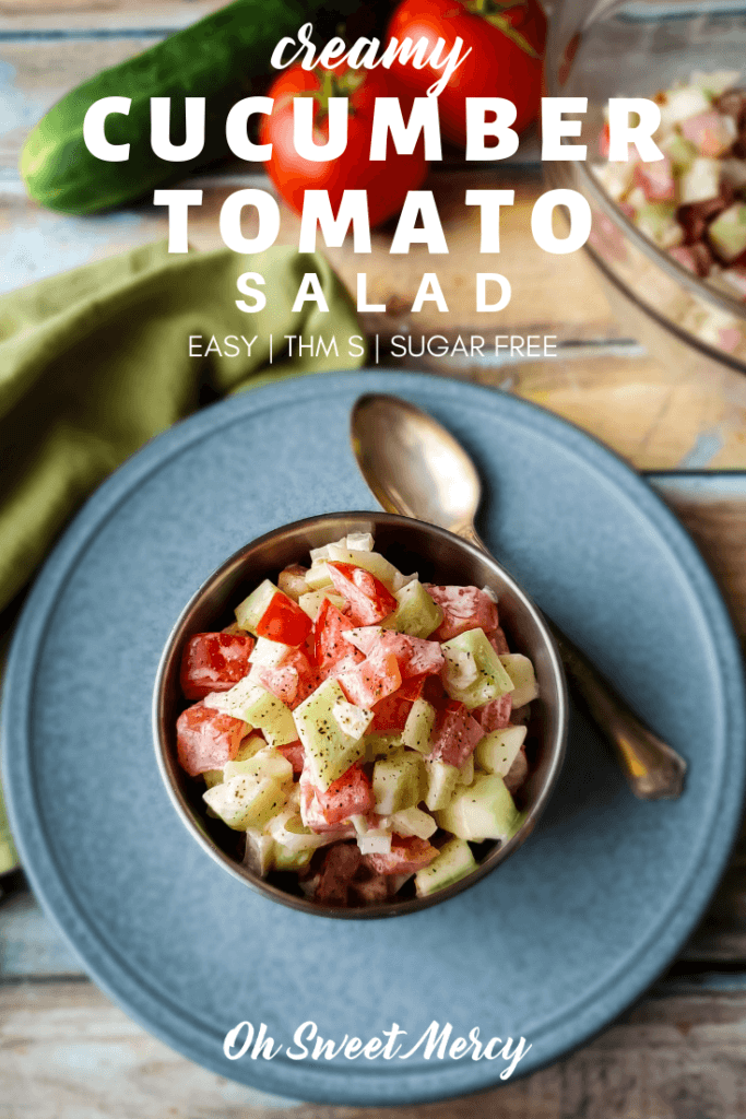 Pin for Creamy Cucumber and Tomato Salad recipe