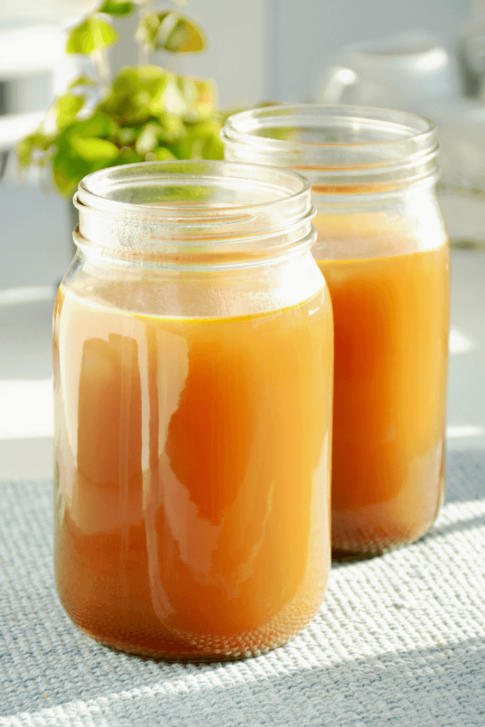 Mason jars of bone broth