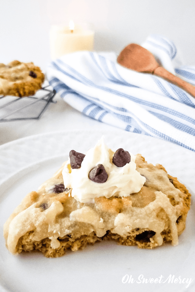 Chocolate Chip Scone with Clotted Cream and Chocolate Chips