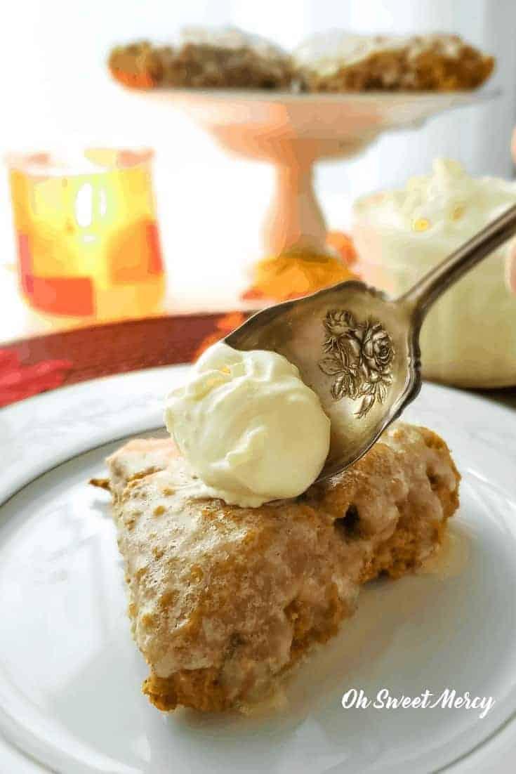 Pumpkin scone with clotted cream