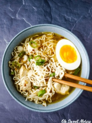 Bowl of low carb ramen with chopsticks