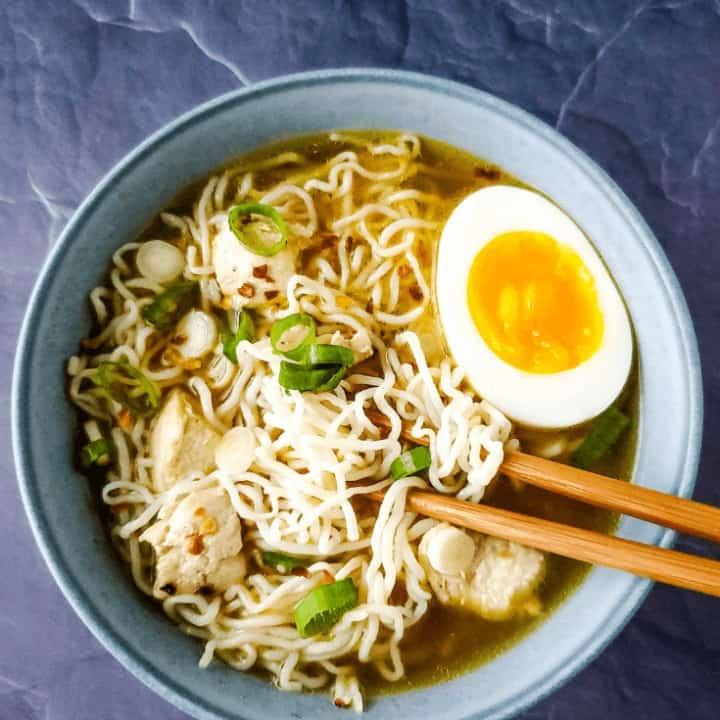 Bowl of low carb ramen with chopsticks