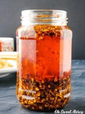 Jar of chili garlic oil