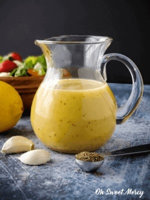 Jar of creamy citrus salad dressing
