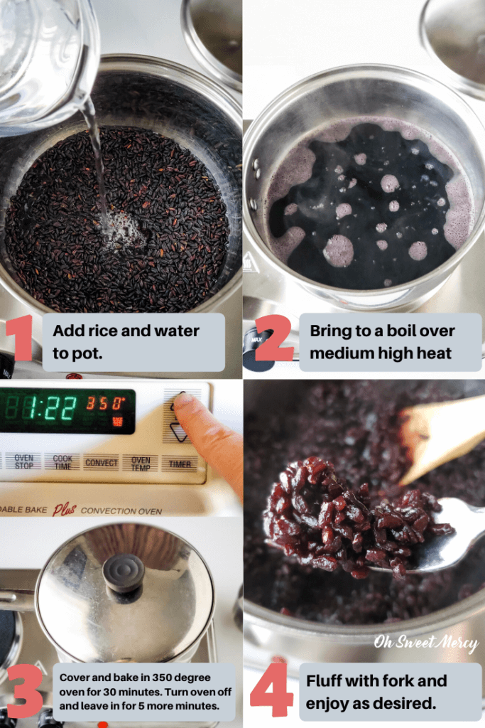 steps showing how to cook black rice in the oven