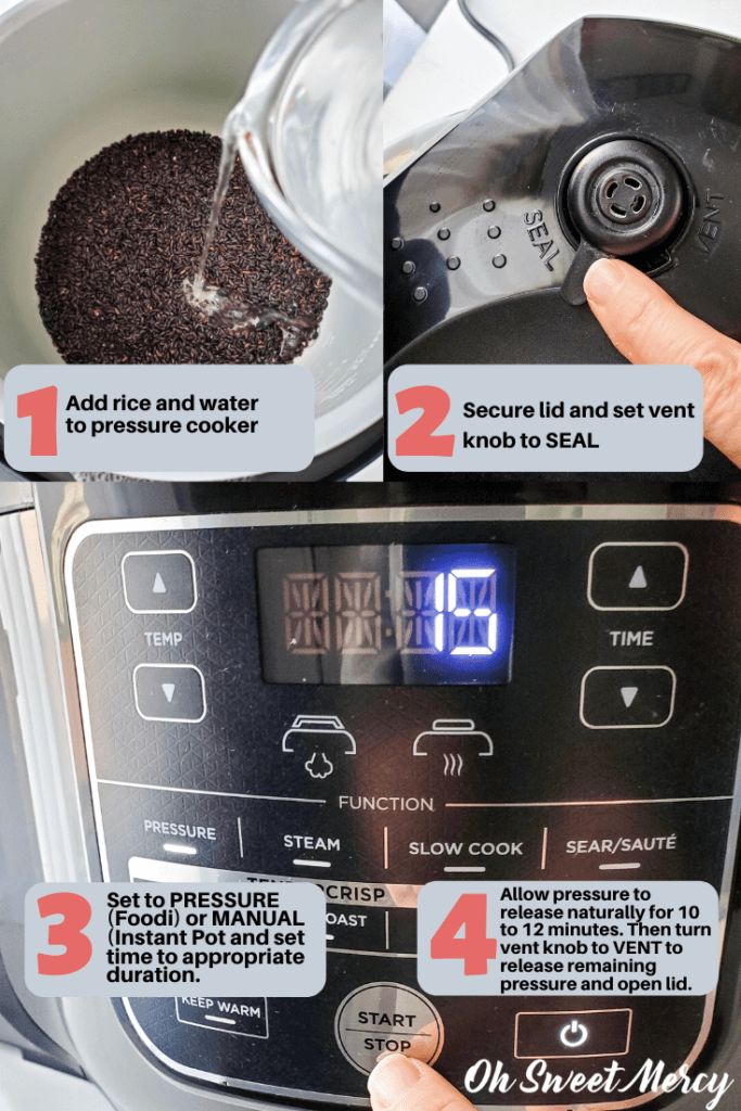 Showing steps to cook black rice in a pressure cooker