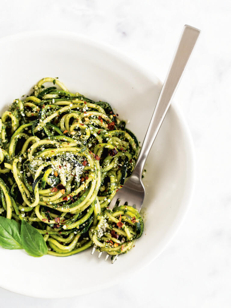almond pesto zucchini noodles from the Wholesome Yum Easy Keto Cookbook