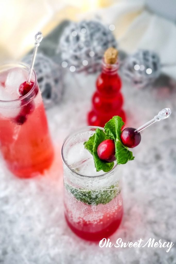 Cranberry Mocktail made with cranberry simple syrup