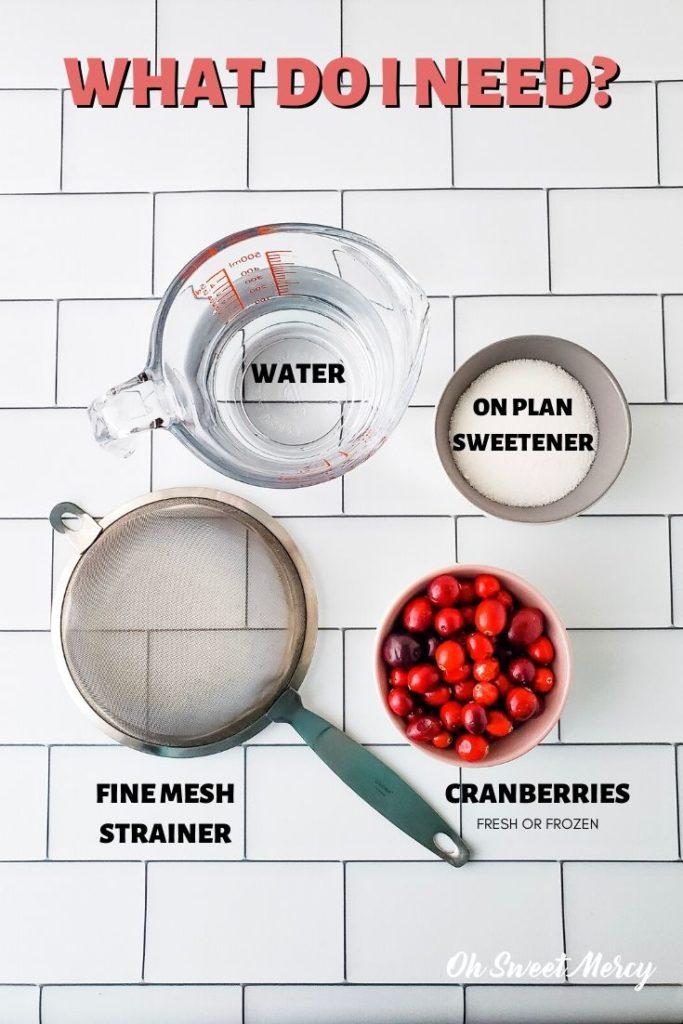 Cranberry Simple Syrup ingredients: water, sweetener, cranberries