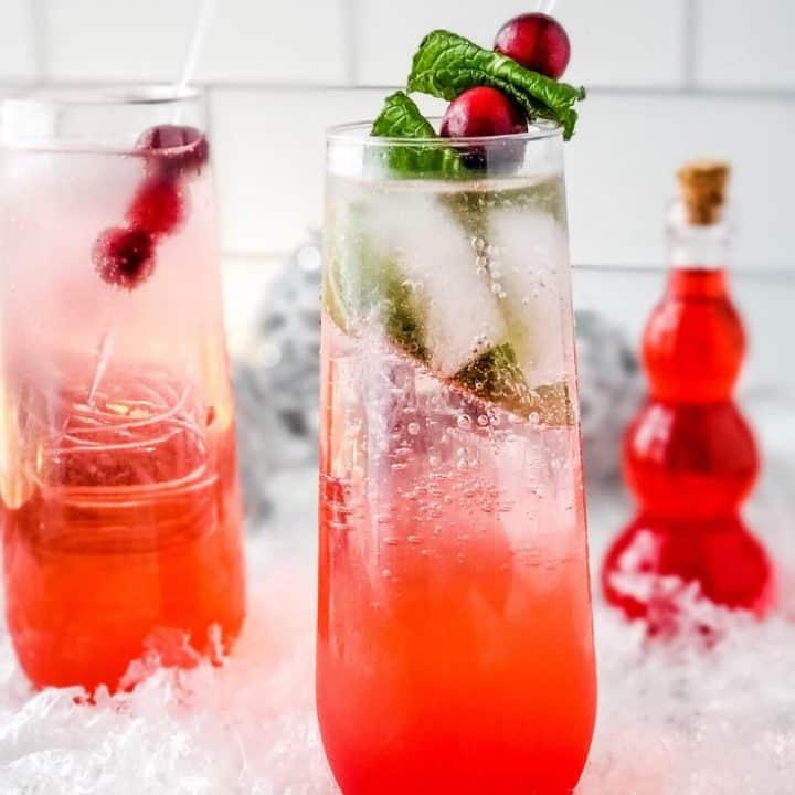 Sugar Free Sparkling Cranberry Mocktail in a glass with garnish.