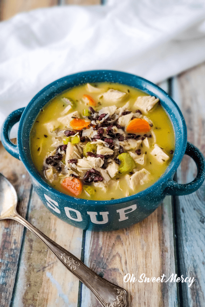 Bowl of creamy turkey and rice soup