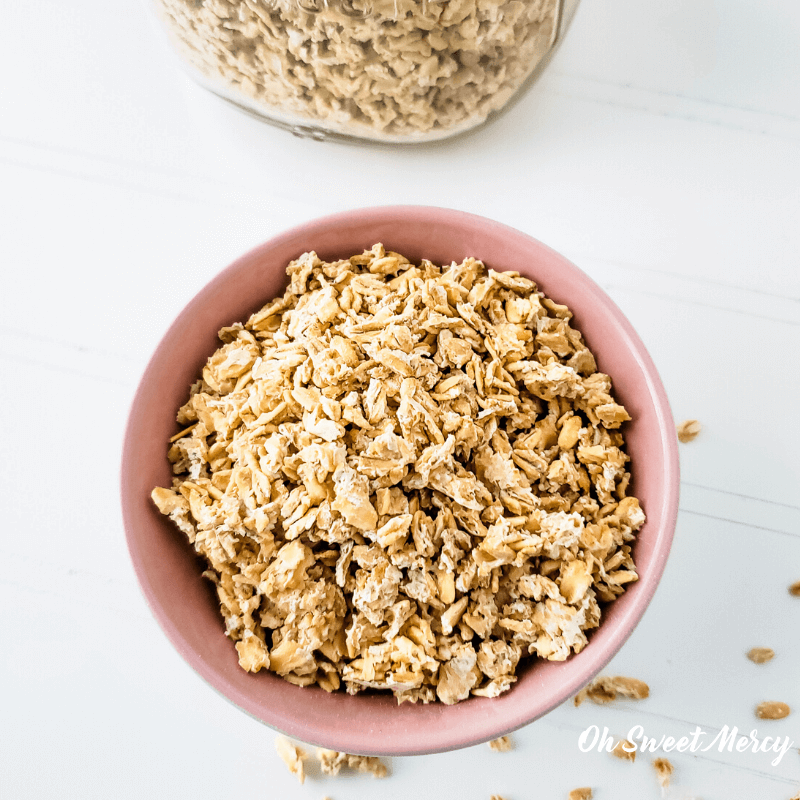 bowl of presoaked and dehydrated oats