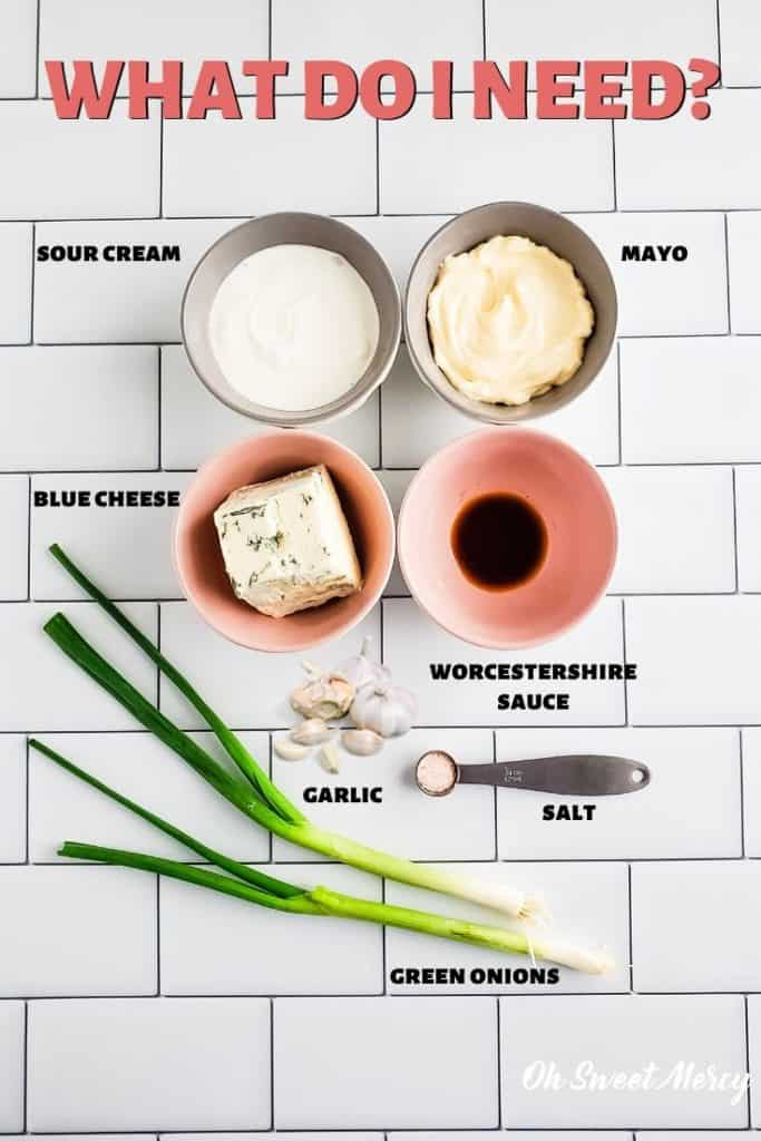 Chunky Blue Cheese Dip ingredients - sour cream, mayo, blue cheese, Worcestershire sauce, salt, garlic, green onions