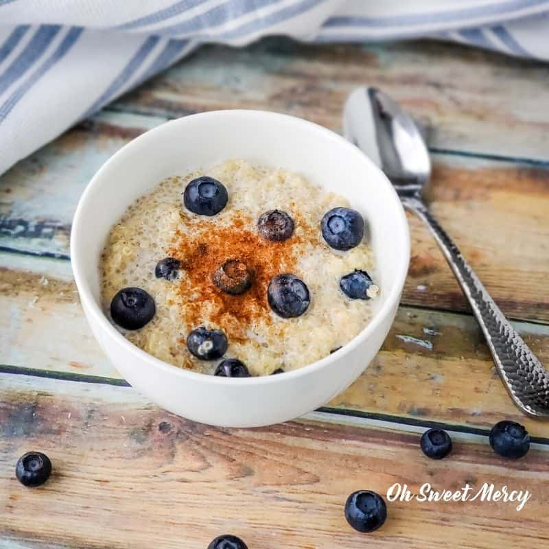 Creamy Berry Quinoa Bowl with blueberries