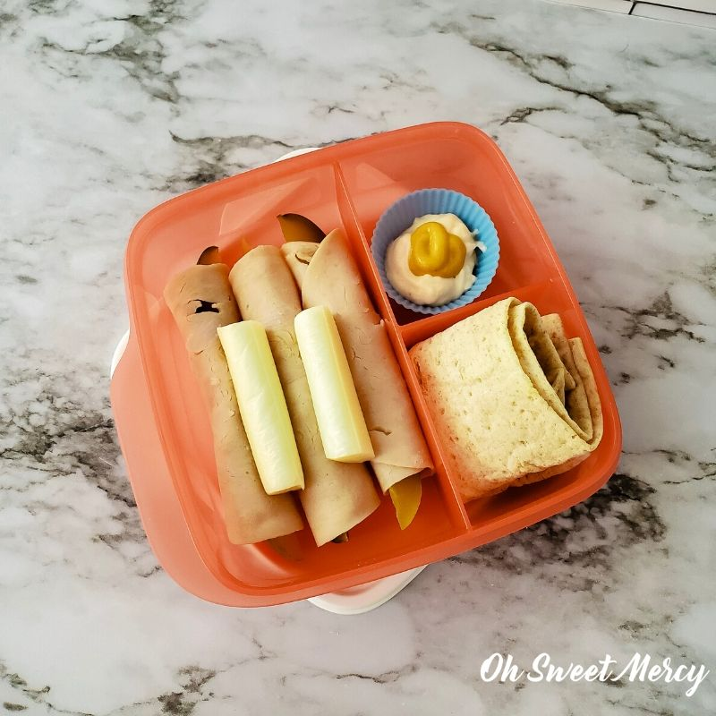 Deli Style Snack Box - dill spears wrapped with lean deli turkey, string cheese stick, low fat mayo and mustard, low carb lavash bread.