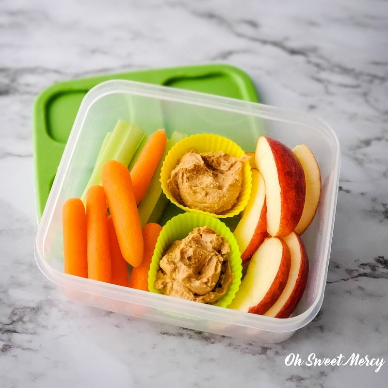 Energizing snack box - baby carrots, celery sticks, apple slices, Peanut Junkie Butter.