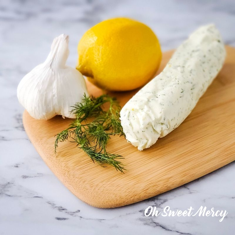 Lemon, Garlic and Dill compound butter