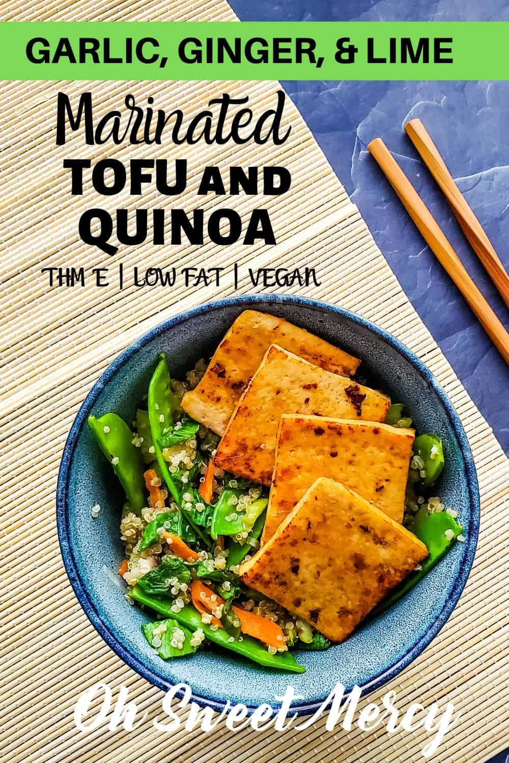 My Garlic, Ginger, and Lime Marinated Tofu and Quinoa makes a delicious, healthy, low fat, and meatless THM E meal choice. Packed with veggies and flavor, you'll never miss the fat (or the meat).