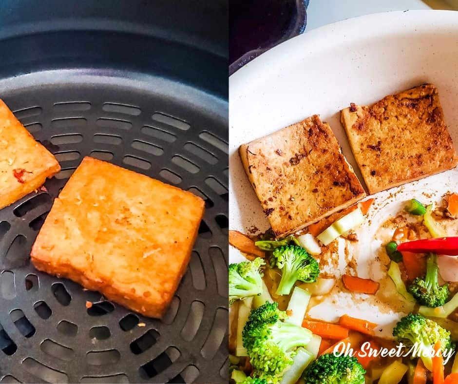 Cooking Garlic Ginger Lime Marinated Tofu in air fryer and skillet