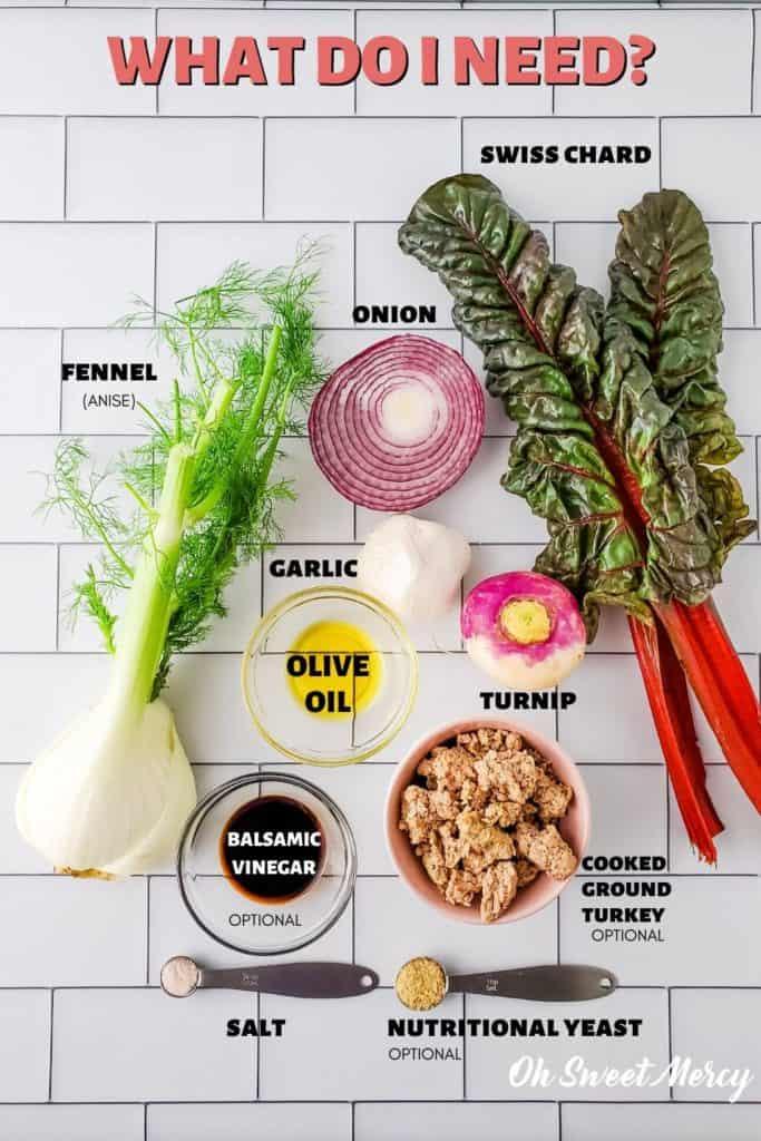 Turkey, Fennel, and Swiss Chard Hash ingredients: fennel, onion, swiss chard, garlic, turnip, olive oil, cooked ground turkey, balsamic vinegar, salt, nutritional yeast