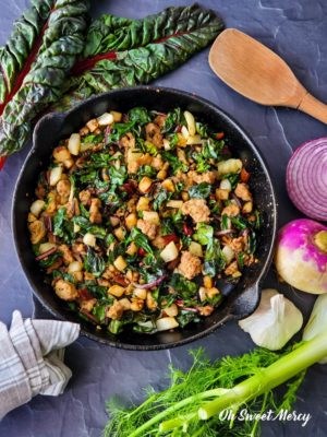 Swiss chard hash in skillet