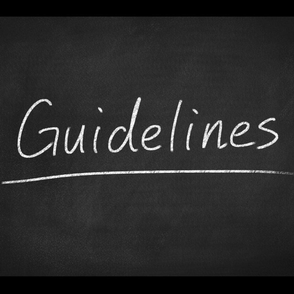 The word Guidelines written on a chalkboard
