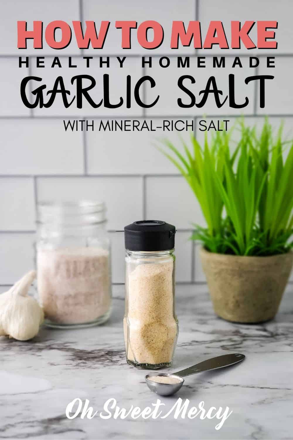 Out of garlic salt? Make your own! And, make it healthier using mineral-rich salt. Perfect for garlic bread and all the places you use garlic salt. #easy #diy #garlic #realfood #homemadeseasonings