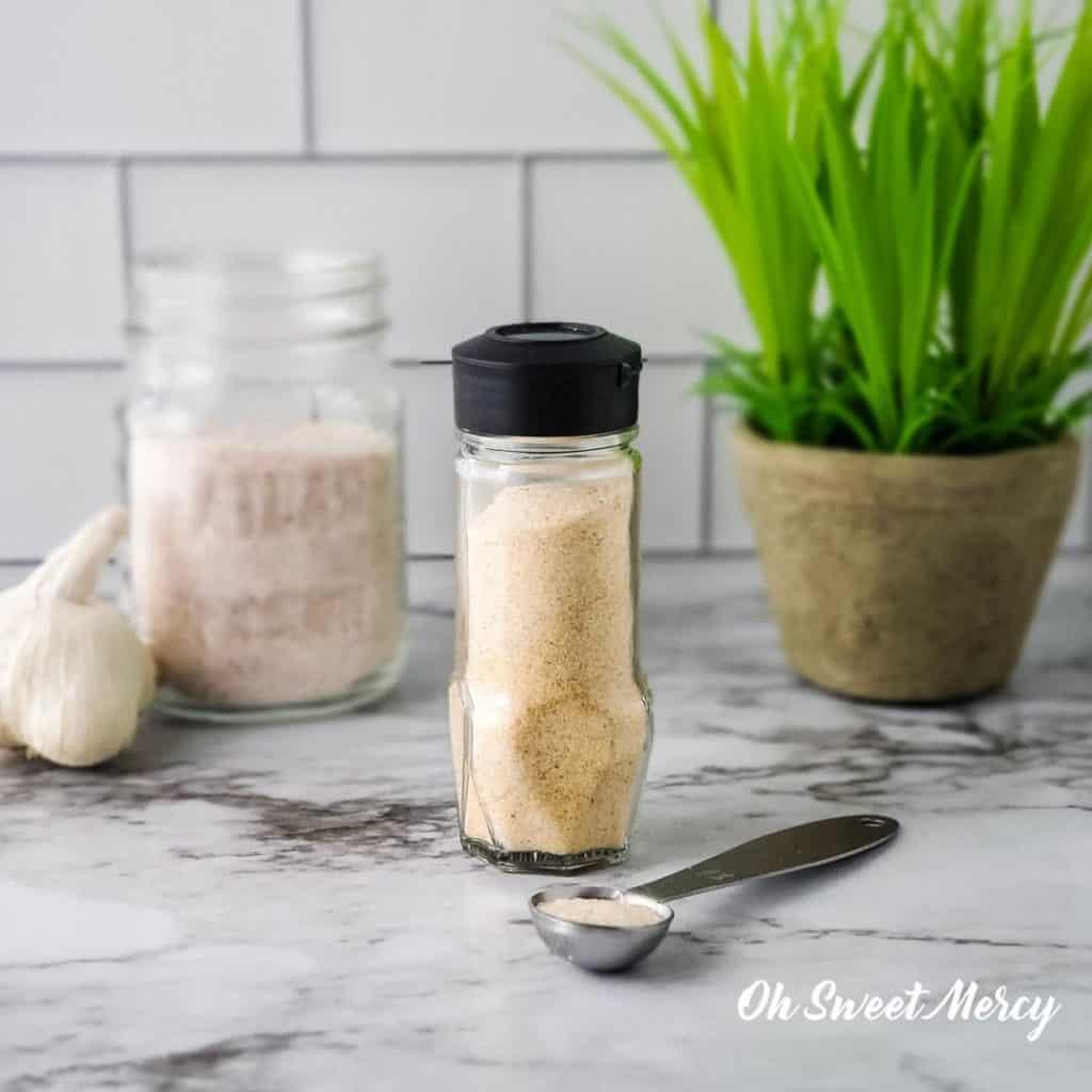 Bottle of homemade garlic salt