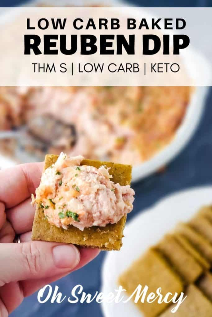 LOW CARB BAKED RUEBEN DIP PINTEREST PIN