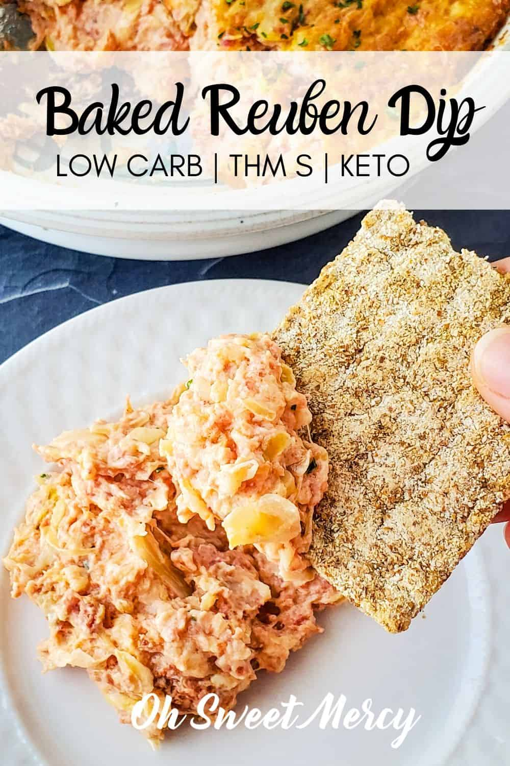 Easy, low carb baked Reuben dip is THM S and Keto friendly! Great for parties and potlucks. #lowcarb #thm #keto #reubendip