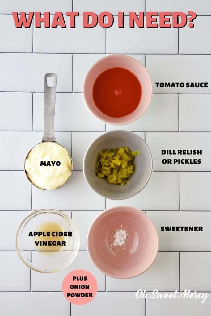 Low Carb Thousand Island Dressing Ingredients: mayo, tomato sauce, dill relish, sweetener, ACV, onion powder