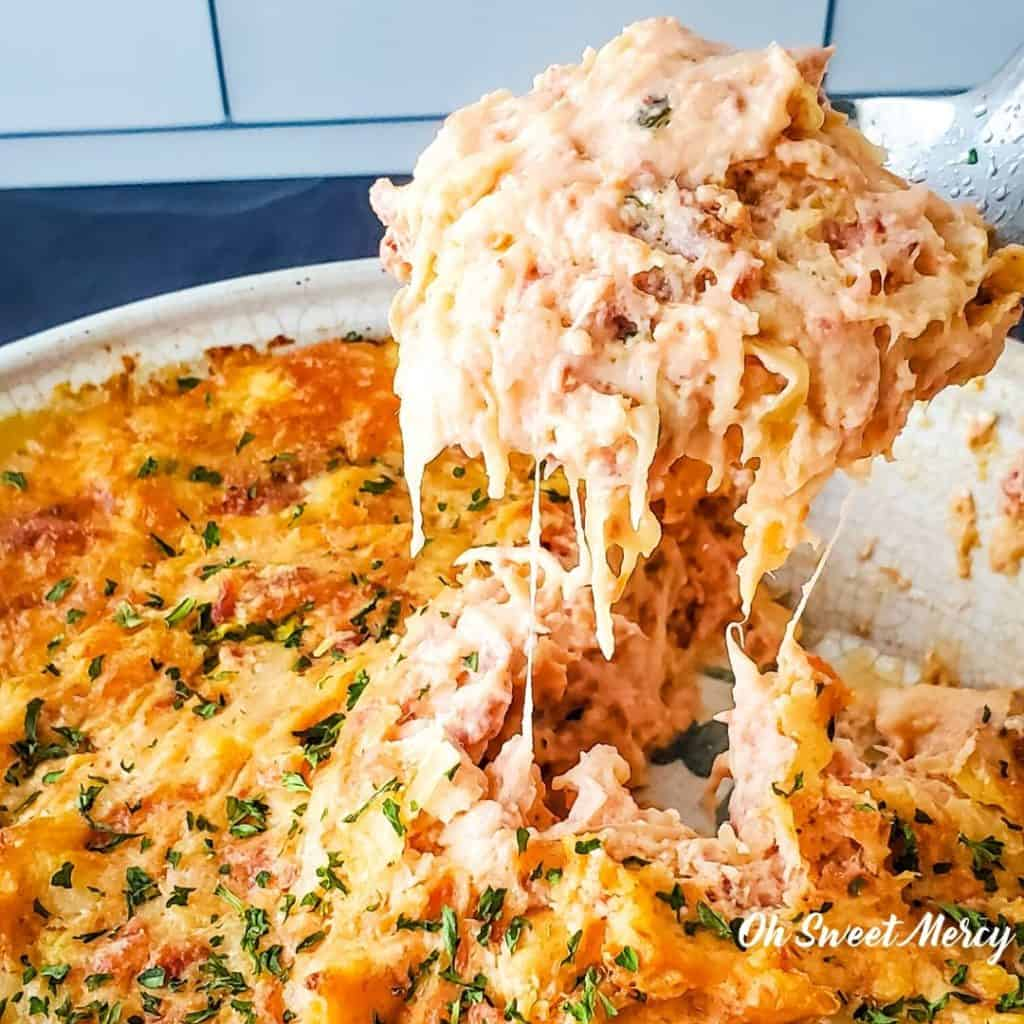 Cheesy scoop of low carb Baked Reuben Dip
